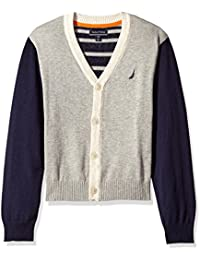 Nautica Boys' Colorblock Cardigan with Gradient Stripe Back