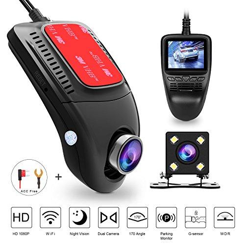 Dash cam, tenswall telecamera per auto wifi 1080p full hd videocamera veicoli registratore visione notturna, 170 gradi, registrazione di emergenza, g-sensor , monitor di parcheggio,rilevatore di movimento, registrazione in loop e 2,0