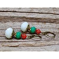 Vintage Ohrringe mit Glasperlen - weiß, türkis, rot & bronze