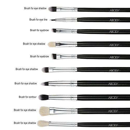 Abody 10Pcs Professional Cosmetic Makeup Brushes Kit Wood Handle Goat Hair Brush Superfine Fibre Brush + Pouch Bag Case Eyeshadow Eyeliner Brush Lip Brush