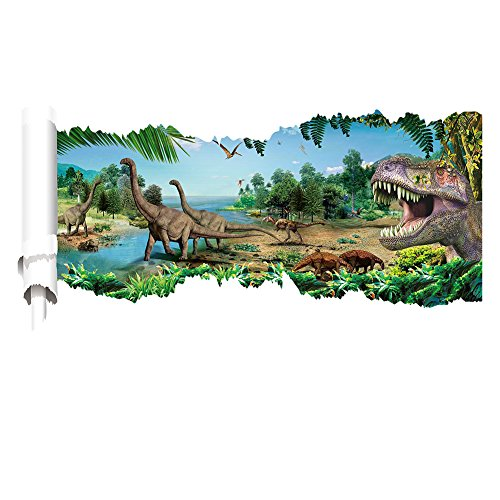 fototapete dino Oulique ® XXL 3D Aufkleber T-Rex Jungel Wanddurchbruch