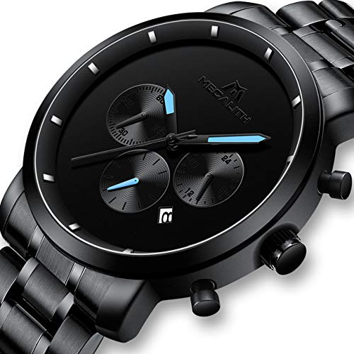 Herren Schwarz Uhren Männer Militär Wasserdicht Sport Groß Chronograph Armbanduhr Mann Luxus Mode Datum Kalender Analoge Quarz Uhr