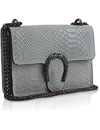 69abec0a66ebb Gloop Damen Clutch echt Leder Tasche Abendtasche mit Kette Handtasche Made  in Italy