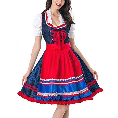 YCLOTH Mädchen Cosplay Kostüm, 2019 hübsches französisches Dienstmädchen, Halloween-Kleid, Kellner-Kostüm, Karomuster, Halloween-Kostüm, Material, 1, M - Französisch Kellner Kostüm