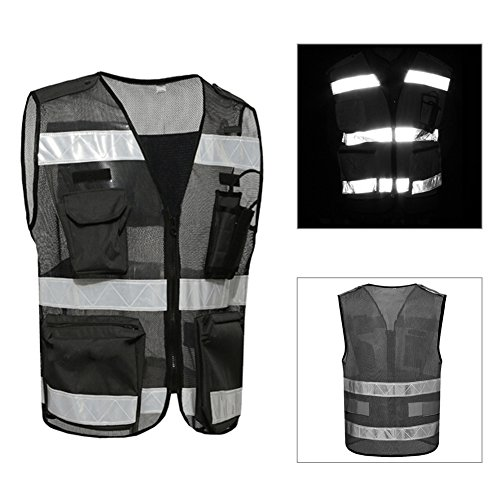 Workwear Visibility Cool Open-Mesh Multi Pocket Executive Waistcoat Vest Mens Mesh Hi-Vis Safety Reversible High Work Zip Premium Jacket Unique Design Pockets For Running Walking Cycling Motorcycle Breathable Reflective Black Riding With Walkie Talkie Intercom Pocket