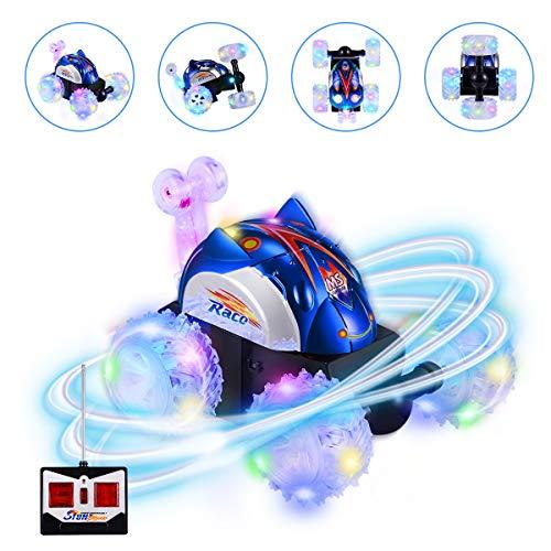 Kearui Ferngesteuertes Auto, Kinderspielzeug 4WD Doppelseitig 360°Spins und Flips mit LED-Leuchten RC Stunt Auto Rennauto Spielzeug für Kinder Bestes Geburtstagsgeschenk für Jungen