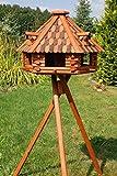 Deko-Shop-Hannusch XXL Vogelhaus mit Solarbeleuchtung absoluter Blickfang, Vogelfutterhaus aus Holz, V13 XXL mit Ständer, Farbe:Braun - Schwarz