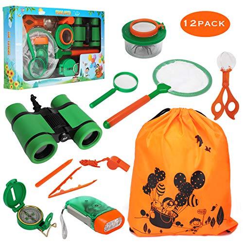 OOTSR [12 Stück] Kids Adventurer Explorer Set für Schmetterlingsjagd - mit Bug Catcher Pinzette Insect Viewer Kompass Lupe & Schmetterlingsnetz für Camping