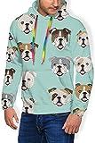 HYJDZKJY Dummes lustiges englisches Bulldoggen-mit Kapuze Plus Samt-Starkes Sweatshirt für die Jungen der Männer, Oberseiten Streetwear