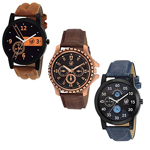 Rizzly Analogue Black Dial Men's & Boy's Analogue Combo Of 3 Watch