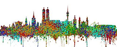 Bunte-kunst-druck (Kunstbruder Leinwand Panorama Skyline - 100x 40 cm Punkt und Bunt- Kunst Druck auf Leinwand (München))