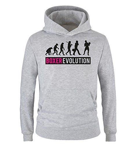 Comedy Shirts - Boxer Evolution II - Kinder Hoodie - Grau/Schwarz-Pink Gr. 104 -
