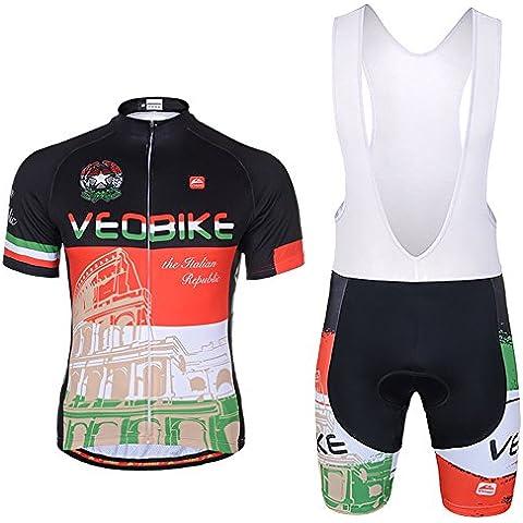 VEOBIKE Pantaloncini da ciclismo bicicletta a maniche corte giacca confortevole traspirante Shirts Tops 3d cuscino (Drappeggiato Top & Gonna A Fessura)