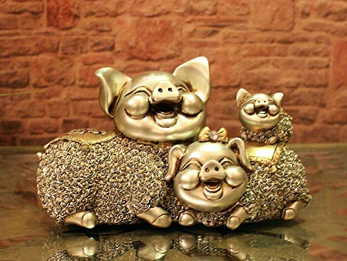 (KOONNG Moderne Dekoration glücksschwein Harz Handwerk Cartoon Neue chinesische Schwein Jahr Tier Dekoration größe: 25 * 13 * 16 cm)