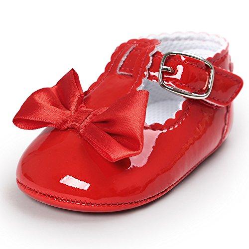 Mode Freizeit PU-Leder Bowknot Babyschuhe-Antirutsch Toddler Krippeschuhe Kinderschuhe, Neugeborene Baby Mädchen Princess Kleinkind Schuhe Krabbelschuhe Wanderschuhe für 6-18 Monate (0-6M, Rot)