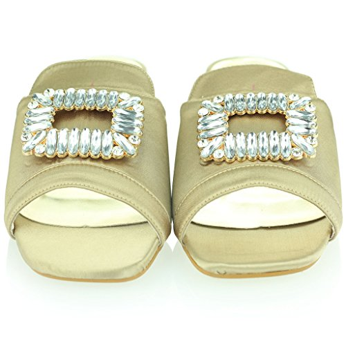 Femmes Dames Diamante Soir Décontractée Fête Glisser sur Milieu Faible Block Heel Des sandales Chaussures Taille Or