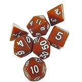 TOYMYTOY Set di dadi poliedrici Dadi da gioco per gioco di società (Marrone)