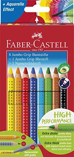 Faber-Castell 280921 - Farbstift Jumbo Grip 8er mit Bleistift und Namensfeldstift