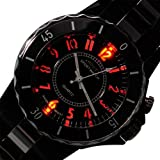 Vantasy New Men Design Steel Skeleton LED 7 Backlight Analogue Quartz Sport Wrist Watch LED Watch,Black