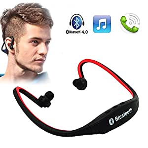 Asus ZenFone Selfie COMPATIBLE BS19 Wireless Bluetooth On-ear Sports Headset Headphones (with Micro Sd Card Slot and FM Radio) RED