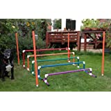 New Colourful long jump with marker poles for dog agility training (due to amazons new postage policy we can only post this item to mainland uk