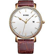 BUREI® unisex ultra-delgado cara grande de oro rosa bisel fecha relojes de cuarzo con correa de piel de becerro marrón, esfera blanca