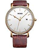 BUREI unisex ultra-delgado cara grande de oro rosa bisel fecha relojes de cuarzo con correa de piel...