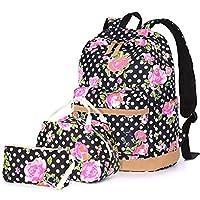 Dot Floral School Bag Set 3 in 1, Junlion Women Soft Polyamide Bag Waterproof Lightweight Laptop Backpack Lunch Bag Pencil Case for Pupils Black