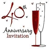 Einladungskarten für den 40. Hochzeitstag / Rubinhochzeit, holographisch, inkl. Umschlägen, 36 Stück