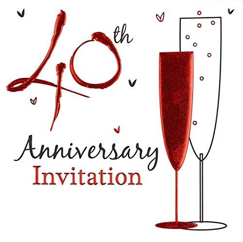 Invito per Le nozze di rubino (40° anniversario di matrimonio), stampa olografica, 36 biglietti con buste