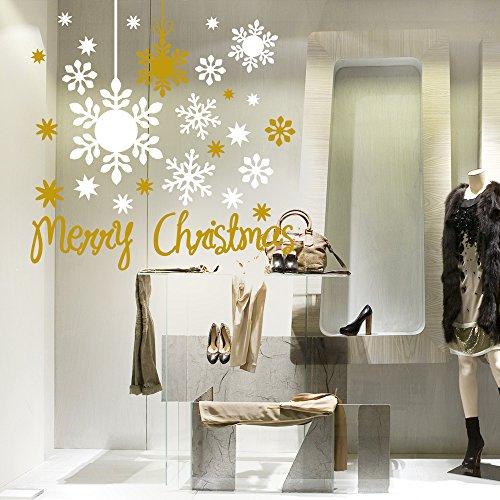 NT0217 Adesivi Murali - Pendenti con fiocchi di neve 02 - Vetrofanie natalizie - Misure: 120x120 cm - Bianco e oro - Decorazioni vetrine per Natale, stickers, adesivi