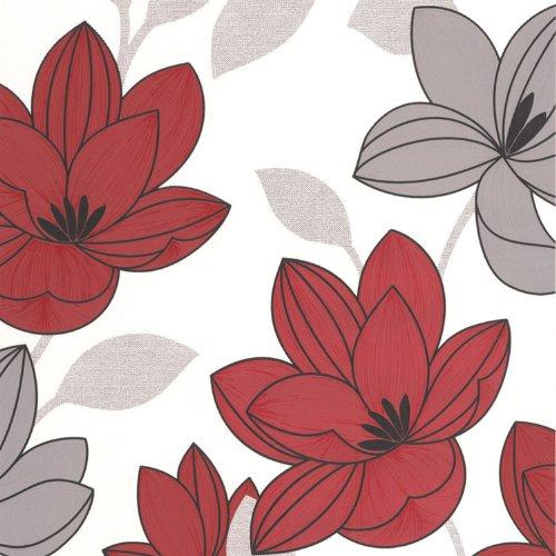 Superfresco Superfloral Wallpaper - Floral, Multicoloured, 20-595 - Red Floral Wallpaper: Amazon.co.uk