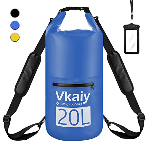 Borsa impermeabile (20l) sacca impermeabili borsa custodia impermeabile vkaiy waterproof dry bag per piscine, nave, trekking, kayak, canoa, pesca, rafting, nuoto, campeggio, tracolla regolabile