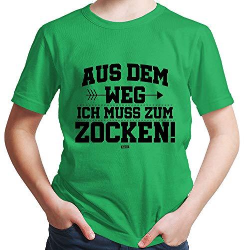 HARIZ  Jungen T-Shirt Aus Dem Weg Zocken Gamer Gaming Inkl. Geschenk Karte Grün 140/9-11 Jahre