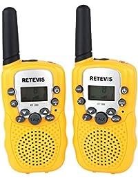 Retevis RT-388 Niños Walkie-talkie UHF 446MHz 8 Canales 0.5W con pantalla LCD y Linterna Incorporado Radio de Juguete Portátil y Aficionado (Amarillo, 1 par)