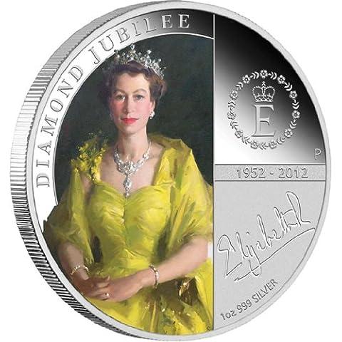 AUD $1 H. M.-Queen Elizabeth II 2012-Diamond Jubilee 1 oz argento Proof Coin (Australian Dollar, regalo ideale per il 2014