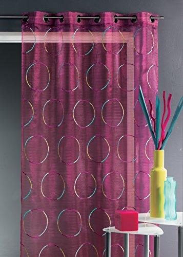 HomeMaison.com HM69807210 ricamato organza Tenda in poliestere 140 x 240 cm Nero