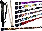 ART DECO Pro Devil Stick Set (7 Arty Designs!) Mit Silikon-Holz handstäbe + Flames N Games Reisetasche! Ideal für Anfänger Jonglieren Devilsticks & Pro ist! (FLAMES)
