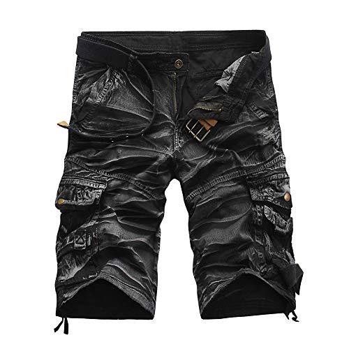 Alaso Hommes Shorts Bermudas, Pas Cher Homme Cargo Outdoor Coton Casual Lâche Pantalon Court avec Multi Poche sans Ceinture