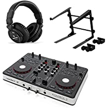 Resident dj Kontrol 3 Set Controlador DJ USB MIDI tarjeta sonido, auriculares, soporte portátil (Doble plato, apto PC o MAC, modo scratch, estructura base ordenador ajustable, cascos profesionales, negro)