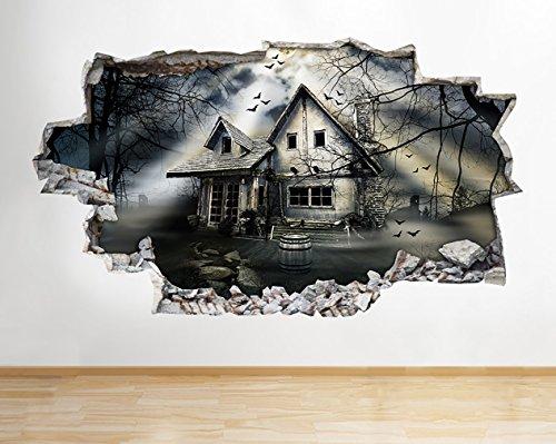 tekkdesigns A173Gejagt House Gothic Halloween Wand Aufkleber 3D Poster Art Aufkleber Vinyl Raum Kids Schlafzimmer Baby Kinderzimmer Cool Wohnzimmer Hall Jungen Mädchen (Medium (52x 30cm))