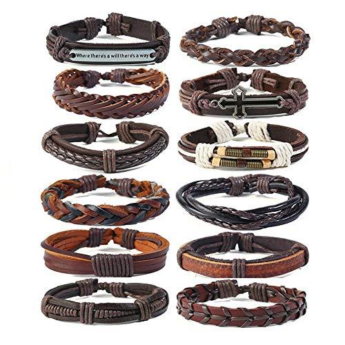 Irugh braccialetto di perline a mano gioielli compleanno regalo vacchetta retrò bracciale semplice multi-layered pelle intrecciata set