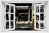 Wallario Acrylglasbild mit Fenster-Illusion: Motiv Verlassene alte Fabrik-Halle mit leuchtenden Sonnenstrahlen - 60 x 90 cm mit Fensterrahmen in Premium-Qualität: Brillante Farben, freischwebende Optik