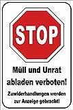 Müll abladen verboten Schild -185s- Müll Stopp 29,5cm * 20cm * 2mm, mit 4 Eckenbohrungen (3mm) inkl. 4 Schrauben