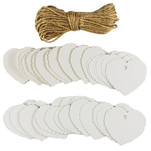 EDGEAM 100er Kraft Papier Geschenk Anhänger Etikette mit Jute Seil f. Weihnachten Hochzeit Geburtstag Party Decor (Weiß)