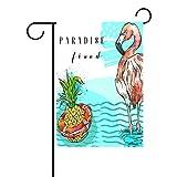 Duble cara dibujado a mano Verano Arte Piña y rosa FLAMINGO en Mar paraíso con bote salvavidas poliéster casa jardín bandera Banner 12x 18/28x 40pulgadas para todo tipo de clima para boda fiesta