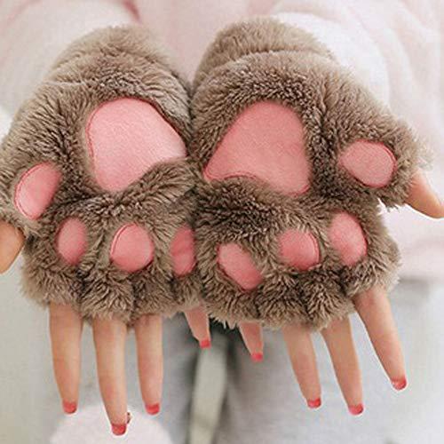 Süße Katze Klaue Pfote Plüsch Fäustlinge warme weiche Plüsch Kurze Fingerlose Flauschige Bär Katze Handschuhe Kostüm halbe Finger schwarz (Schwarze Bären Kostüm)