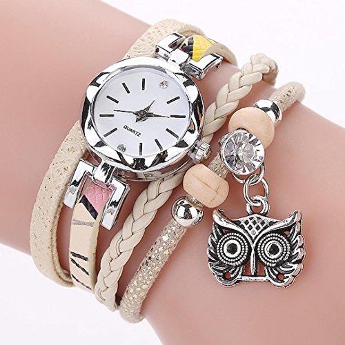 CCQ Fashion Frauen Mädchen Analog Quarz Eule Anhänger Damen Kleid Armband Uhren Schwarz/Weiß/Grau/Gelb/Pink (Baby-eule Für Verkauf)