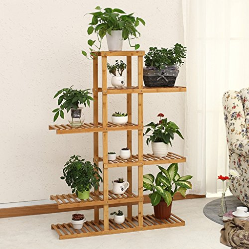 6 Tier Asymmetrische Bambus Blume Rack Balkon Multi - Layer Blumentöpfe Rack Wohnzimmer Interieur Mehrzweck Regale Topf Stand Stand (6-tier-bücherregal)