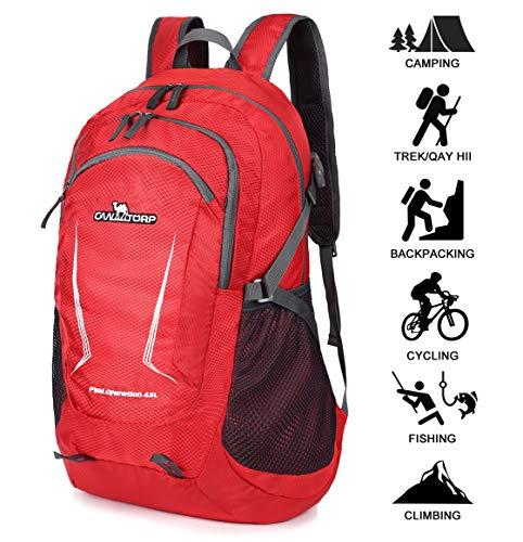 Loocower 45L Leichte Packable Reiserucksack Wanderrucksack, Multifunktionale Tagesrucksack, Faltbare Camping Trekking Rucksäcke, Utra Leicht Outdoor Sport Rucksäcke Tasche - Red
